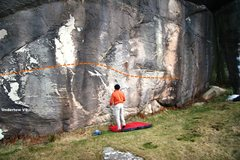 Rock Climbing Photo: Undertow V9, the second half topo