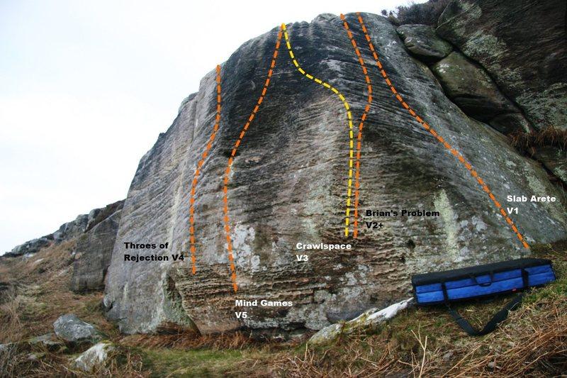 Rock Climbing Photo: Meadow Wall left center Topo