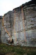 Rock Climbing Photo: Meadow Wall right wall Topo