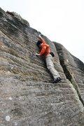 Rock Climbing Photo: Mike reaching to the finishing flake on Meadow Sla...
