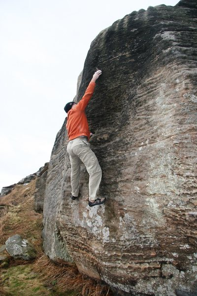 Rock Climbing Photo: Mike gains the small flakes on his problem Mind Ga...