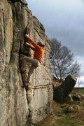 Rock Climbing Photo: Gaining the flake
