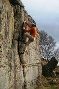 Rock Climbing Photo: Layback the huge flake!