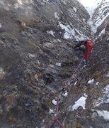 Rock Climbing Photo: Erik Wellborn following P1.