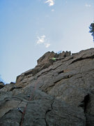 Rock Climbing Photo: Shows the route- there are bolts that split off ri...