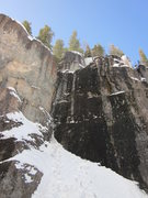 Rock Climbing Photo: The route follows the corner. P2 is kind of seen a...