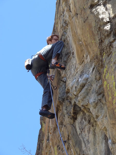 Rob with a techy hand-foot match exiting the crux.