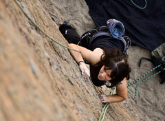 Rock Climbing Photo: Sara works her way up the main face at Point Dume.