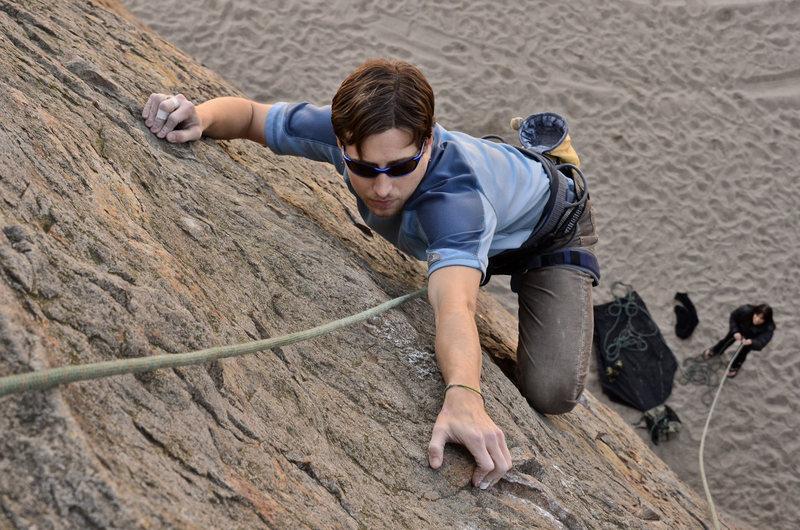 Rock Climbing Photo: Kris climbing the face at Point Dume.