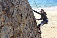Rock Climbing Photo: Nick works the arete.