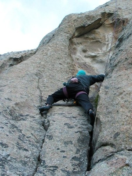 Below the crux on Pave Paradise