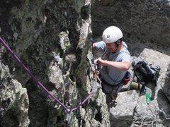 "Rock Climbing Photo: Randy wondering, ""44DD, really?"""