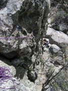 Rock Climbing Photo: Buttoning up the FA on Ode to Doda
