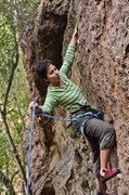 Rock Climbing Photo: Clipping at the first bolt. I would definitely rec...