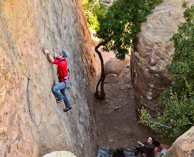 Rock Climbing Photo: Nick belays me as I climb the Far Left route for t...