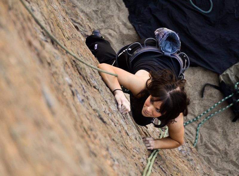 Sara climbing the main face.