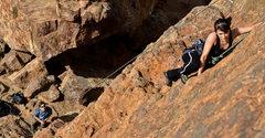 Rock Climbing Photo: Sara climbing the seaside face.
