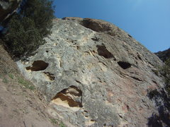 Rock Climbing Photo: View up the cave route - camera is on a light angl...