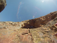Rock Climbing Photo: approach to the grassy cave - up over the ledge an...