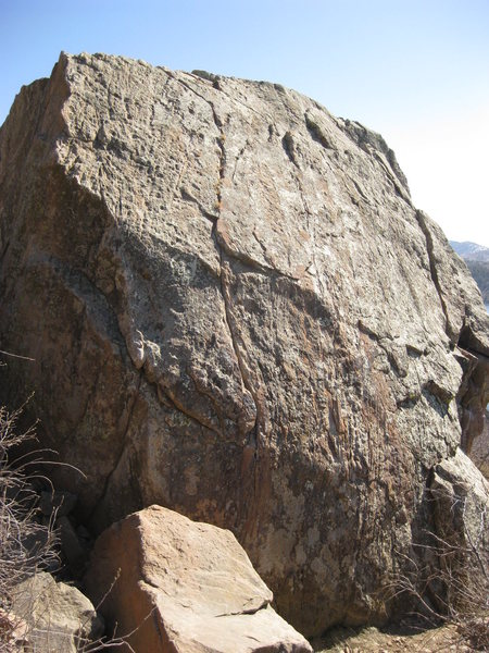 Biercrack is the prominent crack on the left side of this (north) face of Eliminator Boulder.