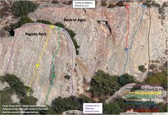 Rock Climbing Photo: Pagoda Rock and Rock of Ages - Route Topos