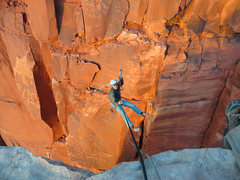 Rock Climbing Photo: Brian Clark taking the easy way back to the rim.  ...