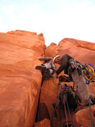 Rock Climbing Photo: Brian climbing the Shorter Pitch 3 with Marcus bel...