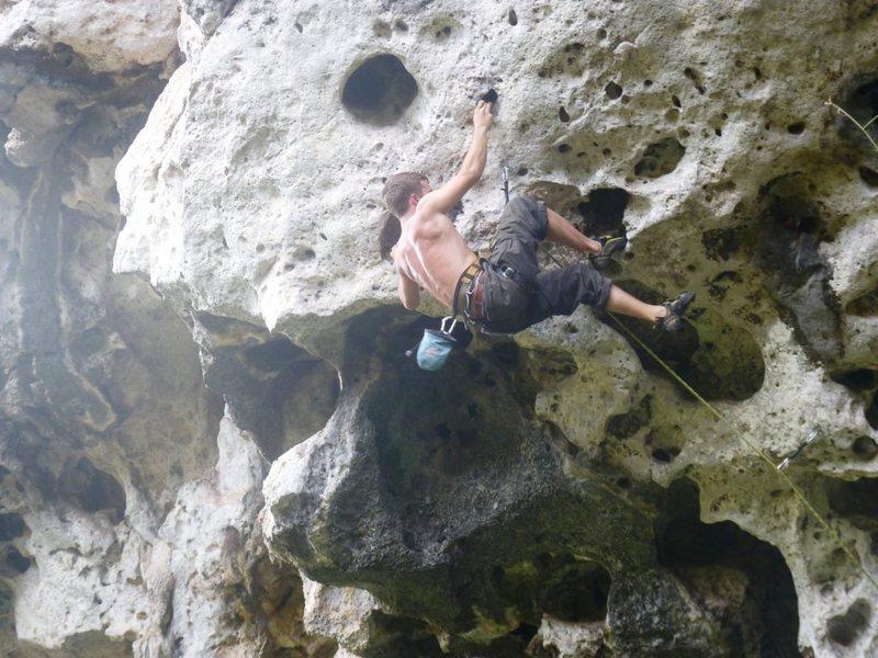 Rock Climbing Photo: On the headwall of Jungle King