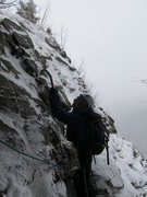 Rock Climbing Photo: Hitchcock Gully  Mt. Willard, NH 02/2012