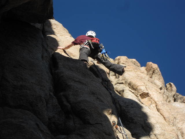 Rock Climbing Photo: Me contemplating the crux moves. Move to the wide ...