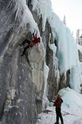 Rock Climbing Photo: Dave Rone working up to the ledge at the mid-way p...