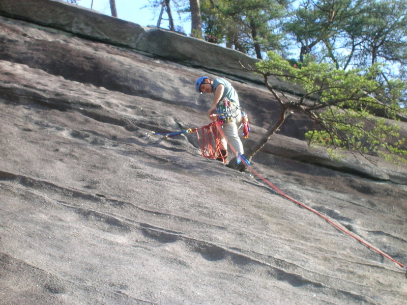 Belaying from bolts on Block Route.  The route can obviously be done in one pitch, but we thought it would help with rop drag to break it up.