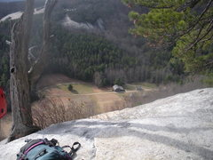 Rock Climbing Photo: View from the top of pitch 3 (the tree ledge) on t...
