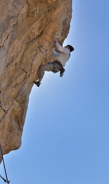 "Different view of old guy climbing ""Brokehold Mtn""."