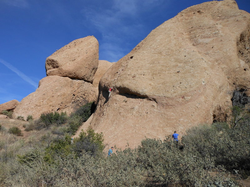 Climbers vying for routes on the Hyperion Slab.