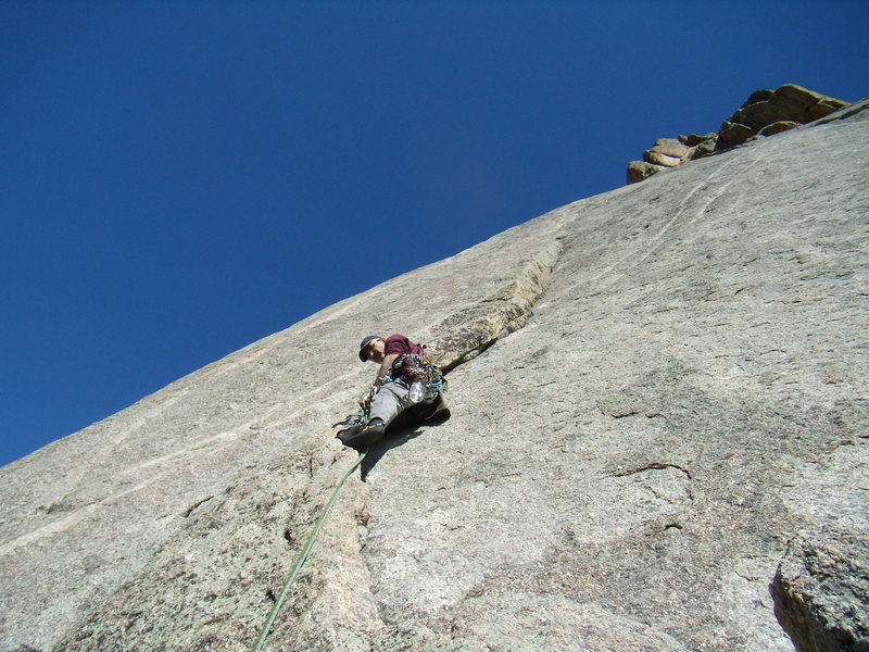 Mike C. on J Crack - Lumpy Ridge - on a splitter day.  Sat March 10th 2012.