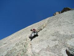 Rock Climbing Photo: Mike C. on J Crack - Lumpy Ridge - on a splitter d...