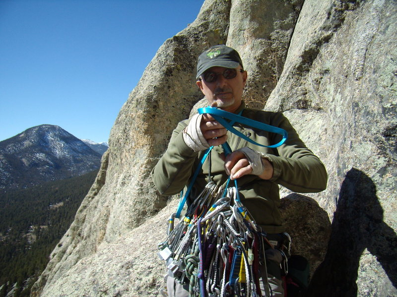Mike C. on J Crack - Lumpy Ridge - on a quiet splitter day. Sat March 10th 2012.