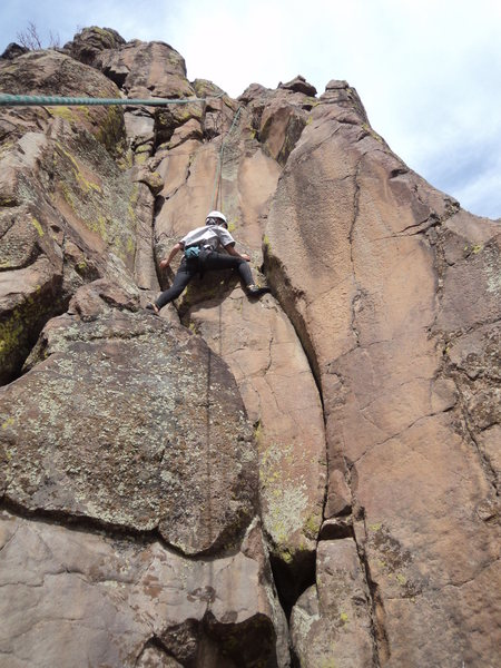 Jackie starting the crux move.
