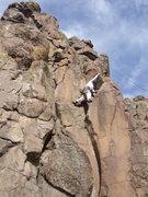 Rock Climbing Photo: Mark Hudson making the fun reach for the arete hol...