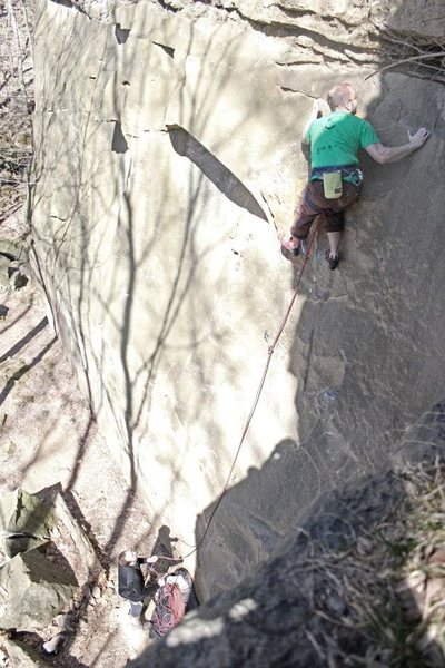 Rock Climbing Photo: Me leading this route. The graffiti adds a nice to...