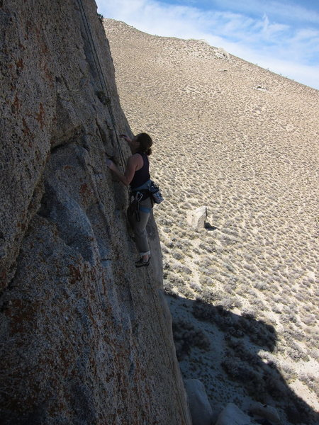 Rock Climbing Photo: Cambria hiking the upper section of Grape Nuts