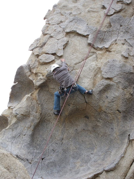 Richard Alden pulling the crux on the day of the first ascent of Pancakes and Cornflakes.