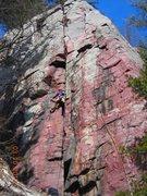 Rock Climbing Photo: Climber on-sights Kamikaze on 3-10-12.