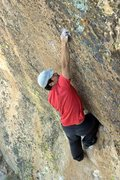 Rock Climbing Photo: Mike B crimping hard on the razor sharp and beauti...