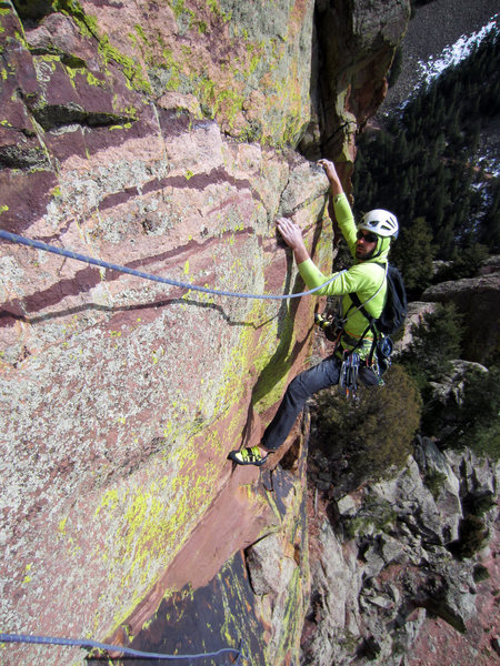 Dave following the traverse to the pitch 1 anchor.
