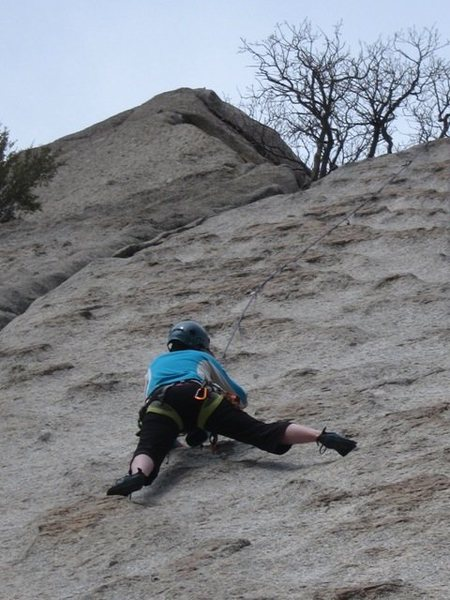 LeAnn squeezes in a route on the Egg...