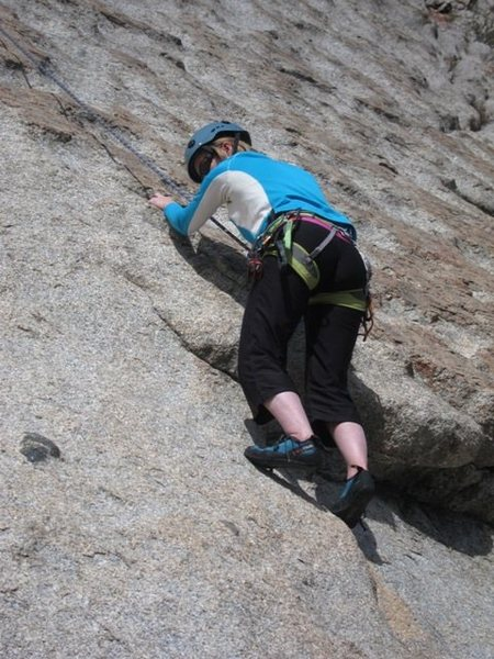 Rock Climbing Photo: Leaving the start of Groovin' onto Huevos Ranchero...