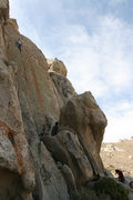 Rock Climbing Photo: Me, near the top of Grape Nuts on the day of the f...