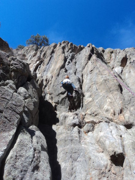 Dave at the crux.  A #3 Camalot can fit in the crack here.